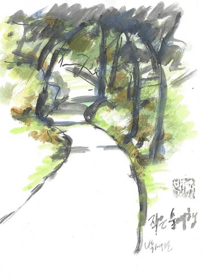 비조마을 분무골 풍경  그림 by 박재완 화가