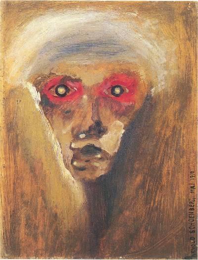 """Gazes"" painted by Schoenberg in 1910 쇤베르크는 아마추어 화가였다. 이 그림은 자화상이다. 출처: https://blog.blo.org/hubfs/p8-9_conklin1_Schoenberg%20redgaze.jpg"