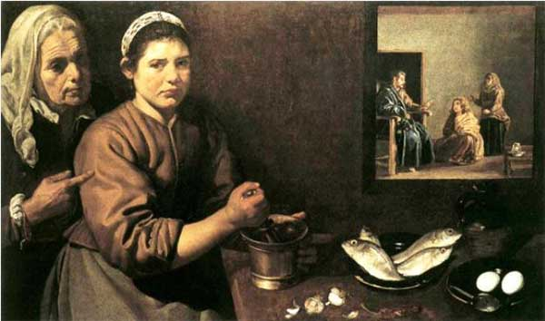 벨라스케스 작 〈마리아와 마르다의 집을 방문한 그리스도(Christ in the House of Mary and Martha)〉, 런던 국립미술관
