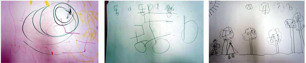 (좌)3세 유아가 만들어 부른 악보 / (중)4세 유아가 만들어 부른 악보 / (우)5세 유아가 만들어 부른 악보