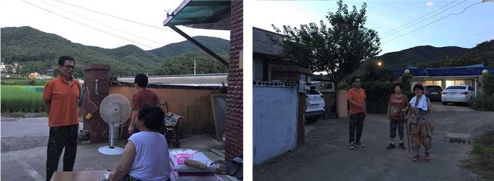 (좌) 계촌할머니댁 평상에서(2021.7.20.)   (우) 저녁 8시, 산책하러 가는 길(2021.7.20.) by 김진희