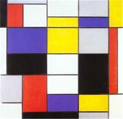 몬드리안 Composition A: 몬드리안은 수평석과 수직선만으로 세상을 표현할 수 있다고 하였다.